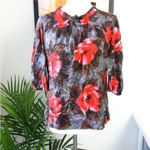 Boden Floral Silk Blend 3/4 sleeve Blouse 8